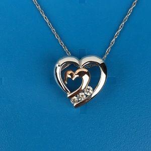 "18"" Kay 10K White Rose Gold Diamond Heart Necklace"